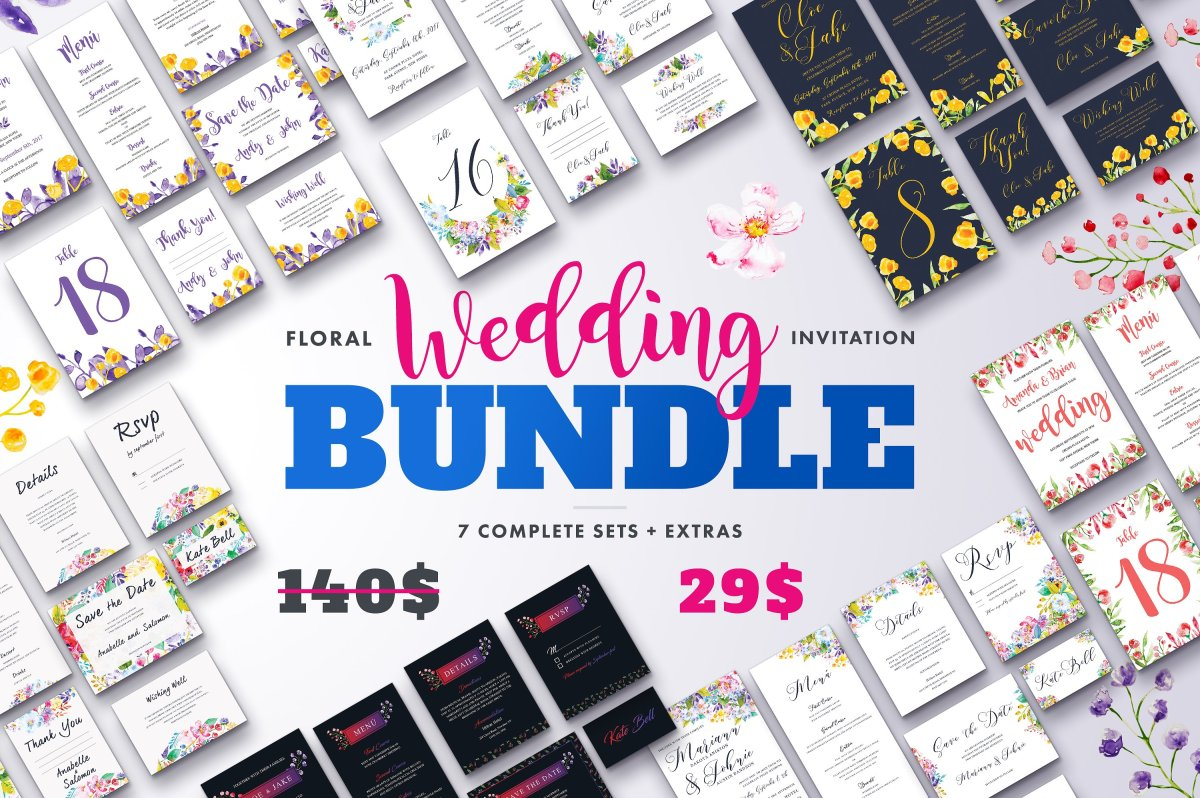 Beautiful Floral Wedding Invitation Bundle by lovepower