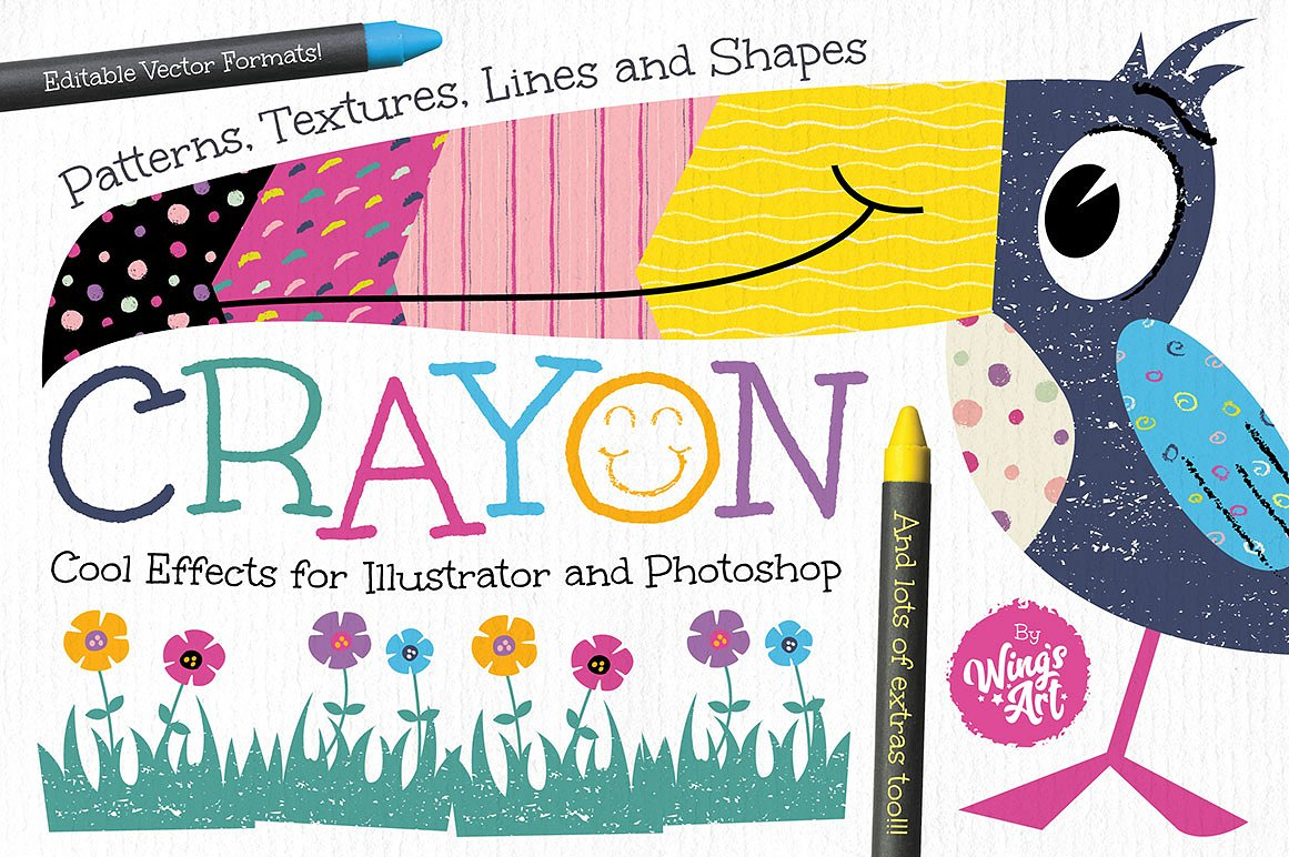 Wax Crayon Textures for Adobe Illustrator by Wing's Art and Design Studio
