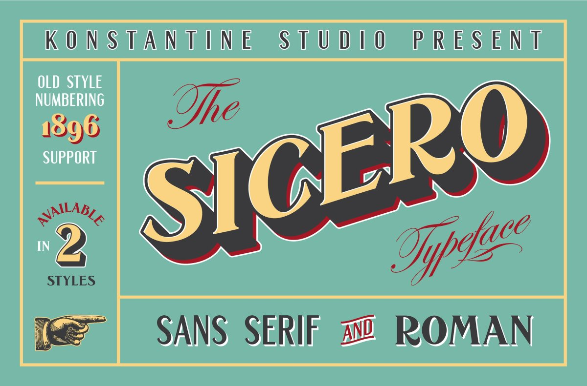 Sicero Vintage Logo Branding Fonts by Konstantine Studio