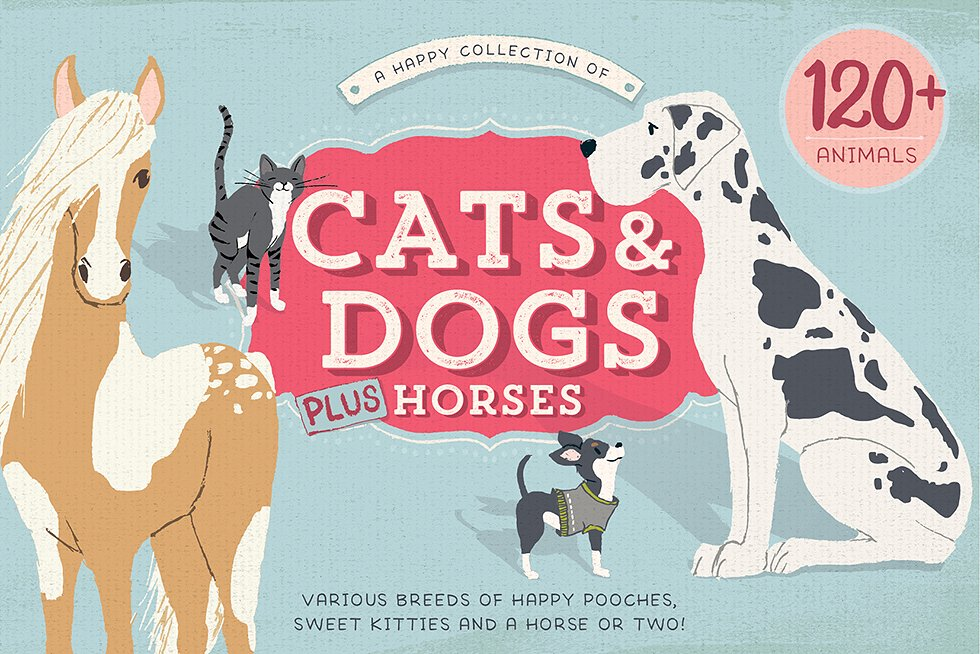Cats, Dogs & Horses - 120 Pet Illustrations by by Lisa Glanz