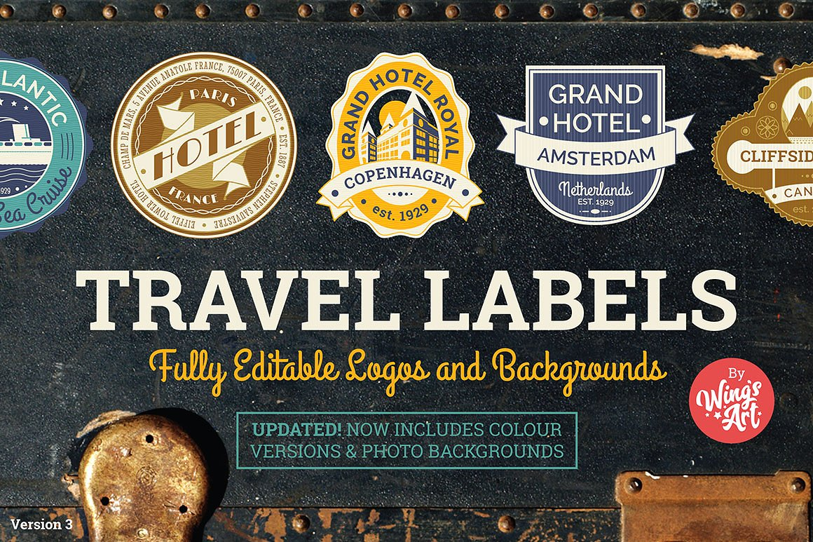 Vintage Travel Luggage Labels by Wing's Art Studio