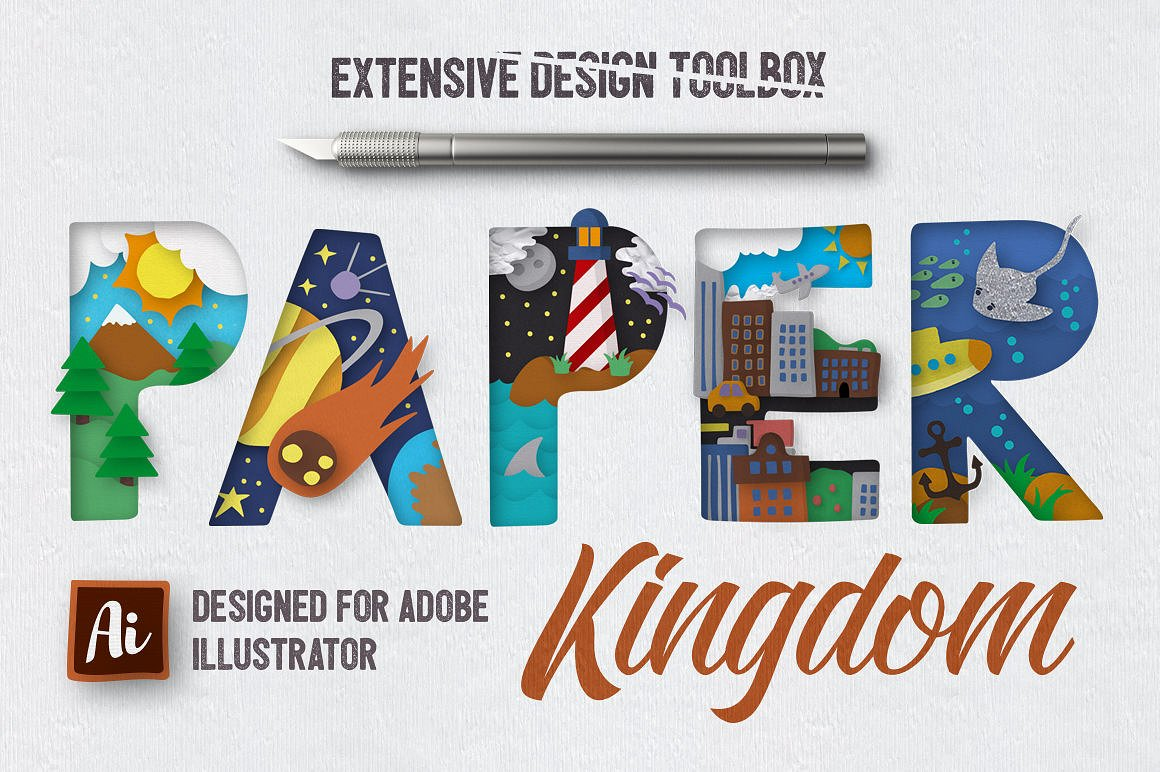 Paper Cut Graphics For Illustrator by Creative Veila