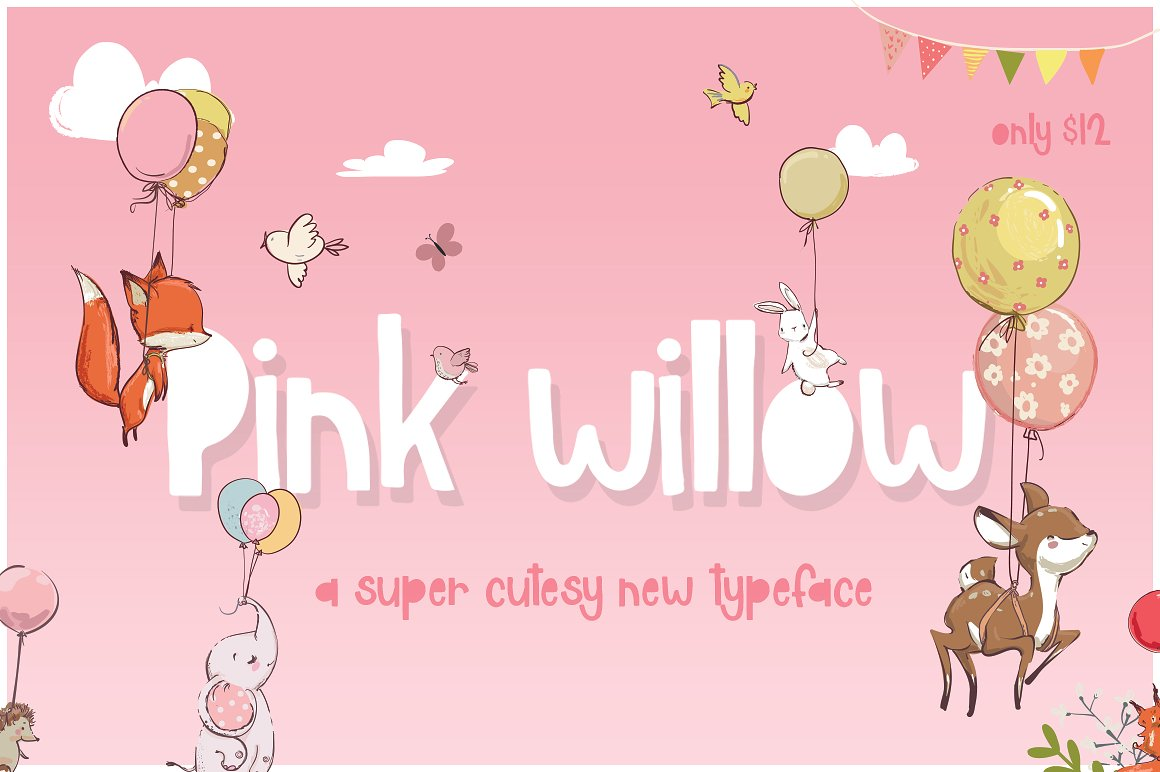 Pink Willow - A super cute new typeface by Maroon Baboon