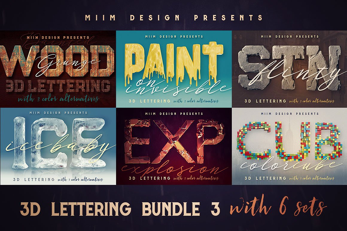 3D Lettering Effects Bundle by MIIM