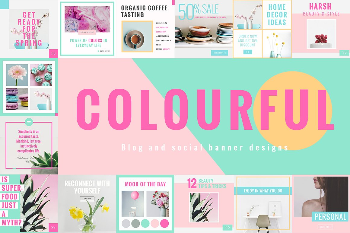 Colorful Social and Blog Media Designs by NordWood