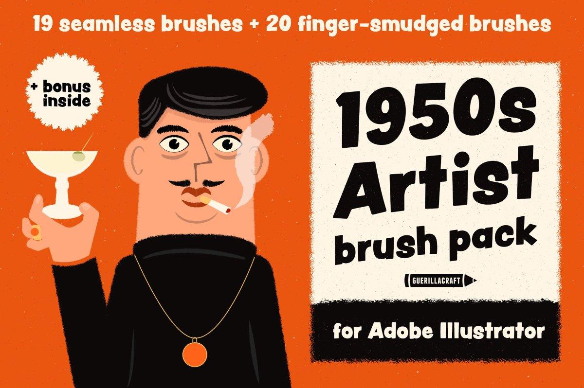 1950s Artist Brush Pack by Guerillacraft