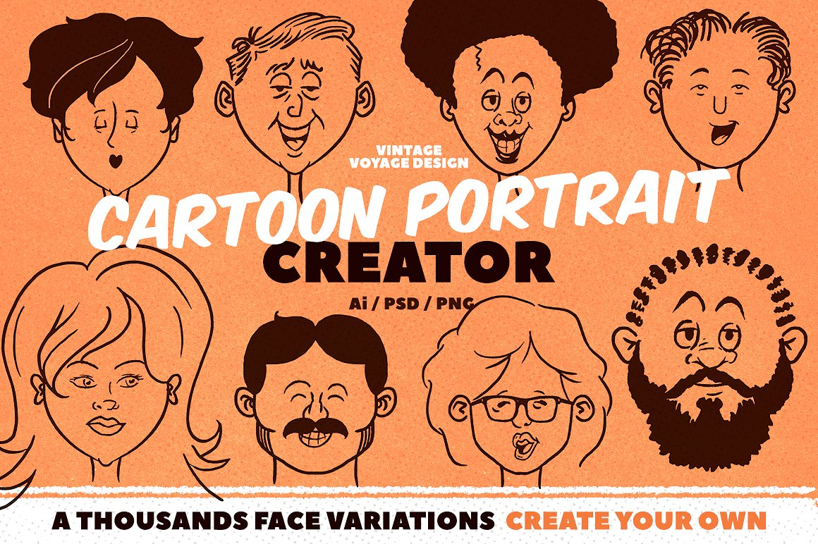 Cartoon Portrait Creator by by Vintage Voyage Design Co.