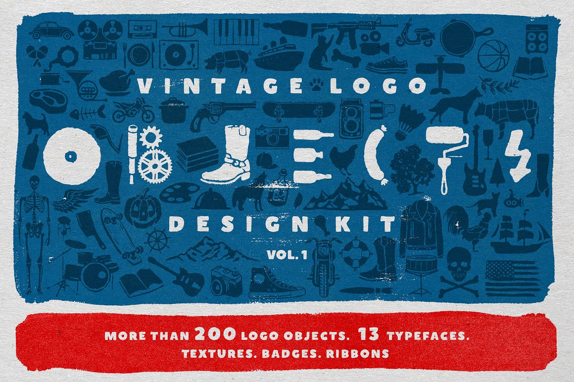 Vintage Logo Design Tool Kit - Fonts, Textures, Ribbons and Objects by Vintage Voyage Design Co.
