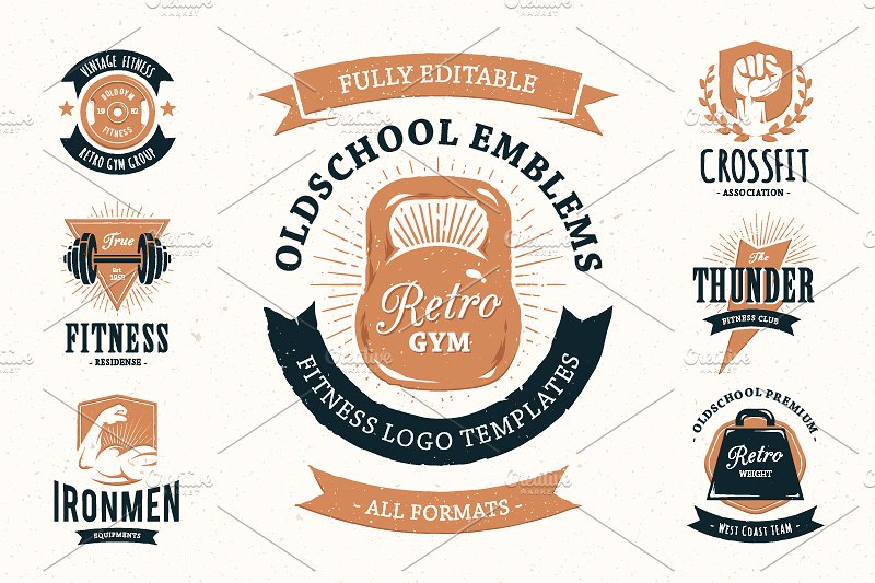 Vintage Style Gym and Workout Logos by Vecster