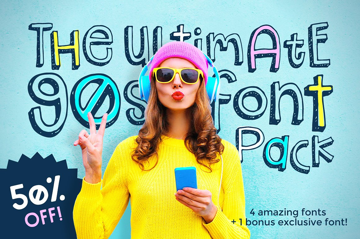 The Ultimate 90s Font Pack by Denise Chandler