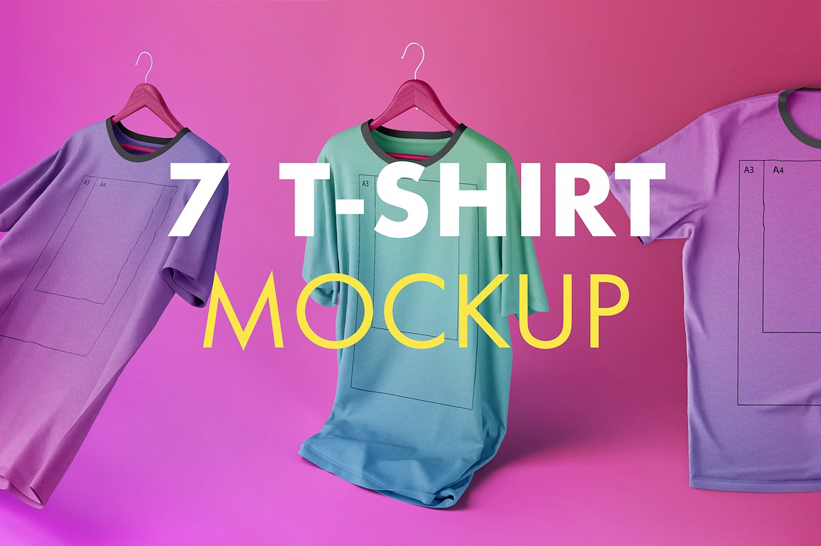 7 fully editable creative T-shirt Mockups by As Good As Possible