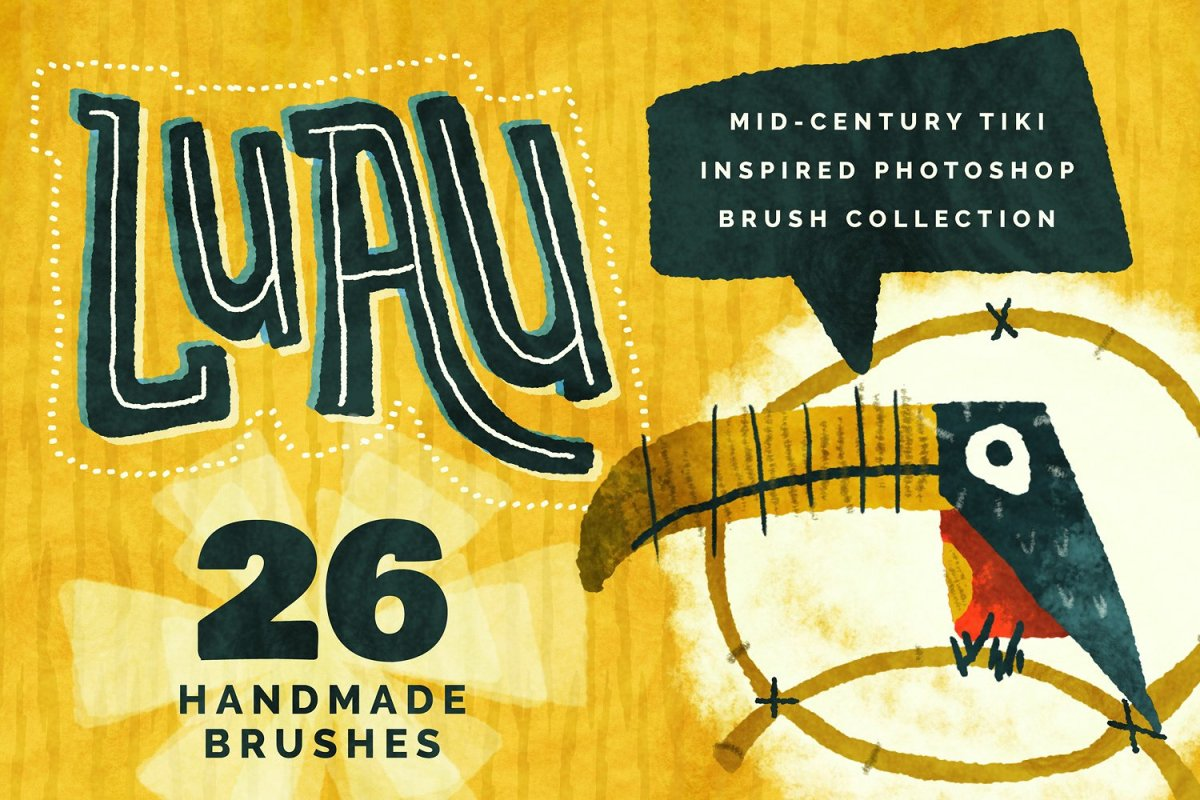 The Retro Tiki Inspired Photoshop Brush Collection by Lauren Hodges