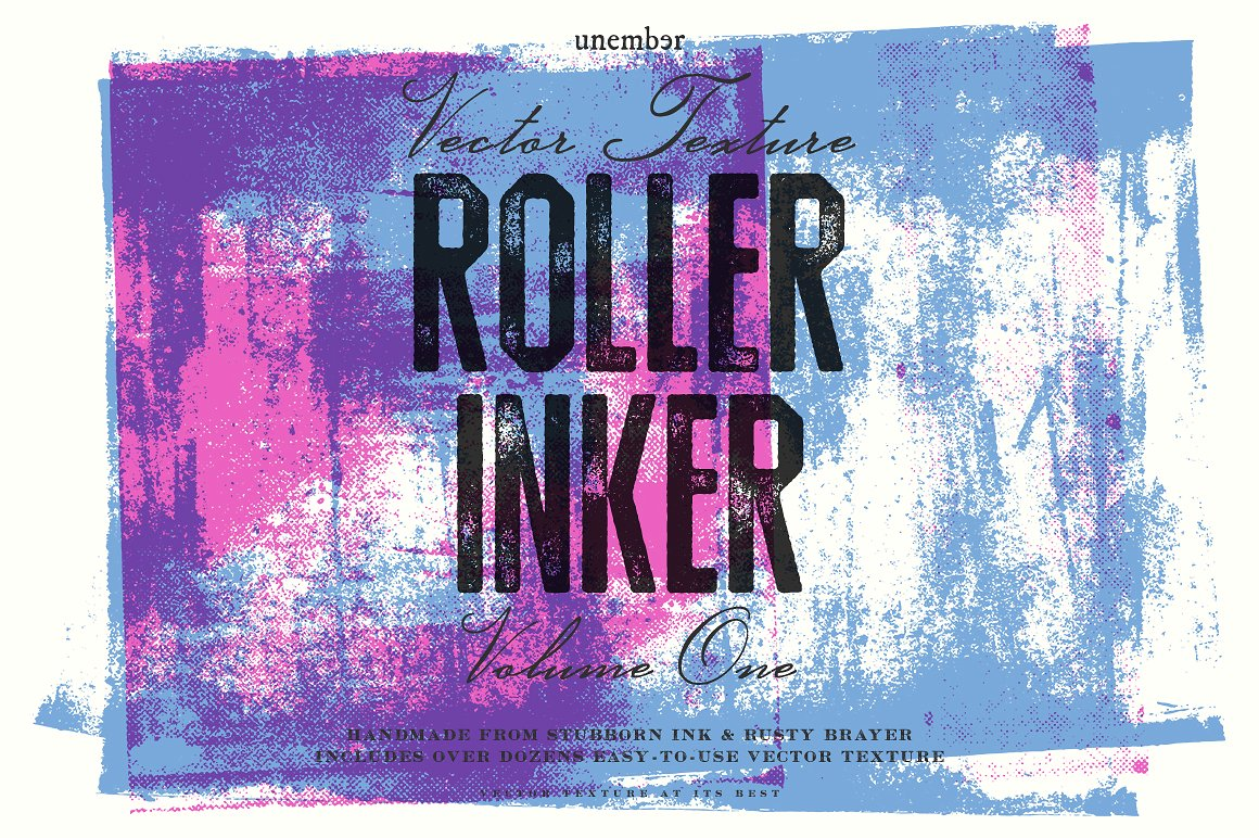Authentic Ink Roller Textures for Illustrator by Unember