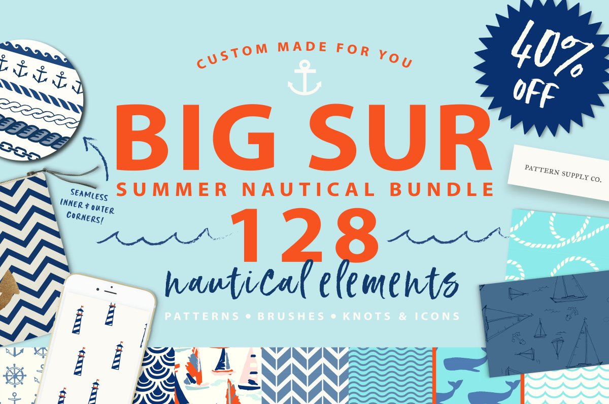 Summer Nautical Bundle! 128 graphics by PatternSupplyCo