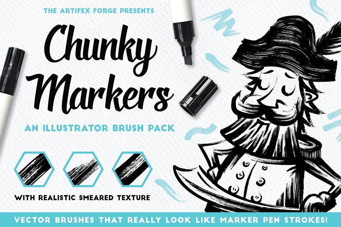 Chunky Marker Pen Brushes for Illustrator by The Artifex Forg