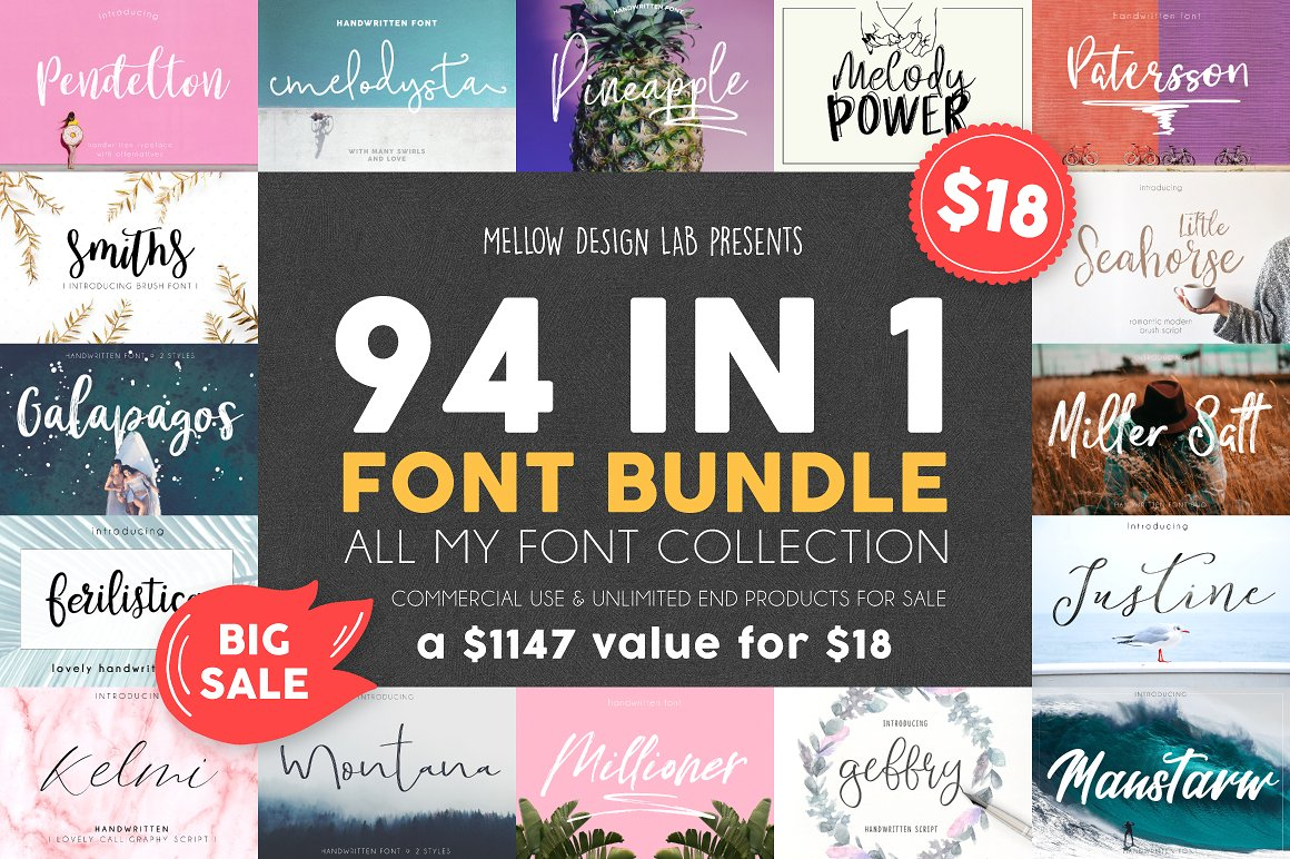 The 94 Classic Font Bundle by Mellow Design Lab