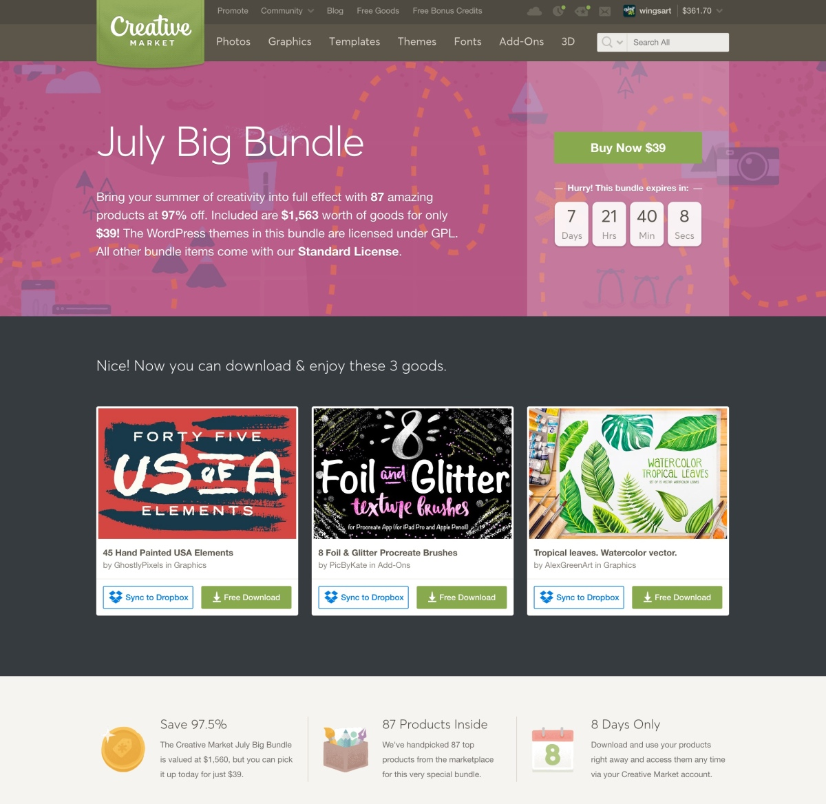 The Creative Market July Bundle $1,563 worth of goods for only $39!