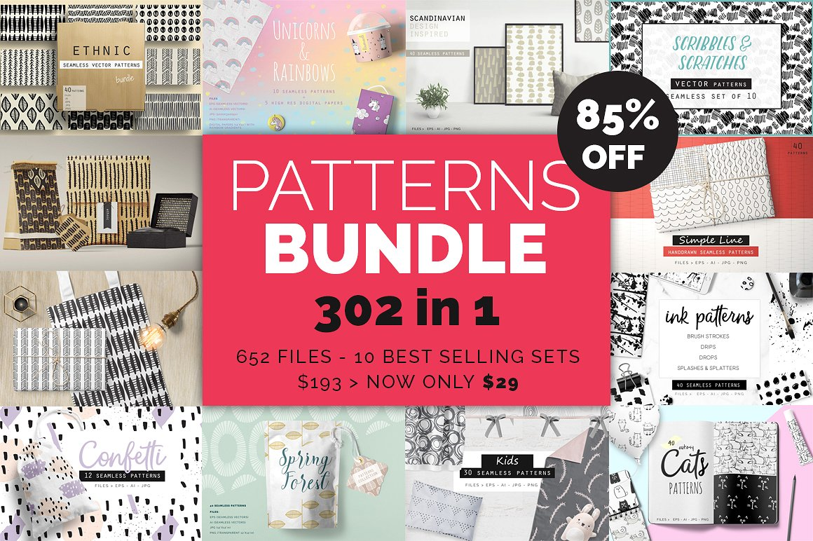 The 302 Handdrawn Patterns Bundle by Youandigraphics