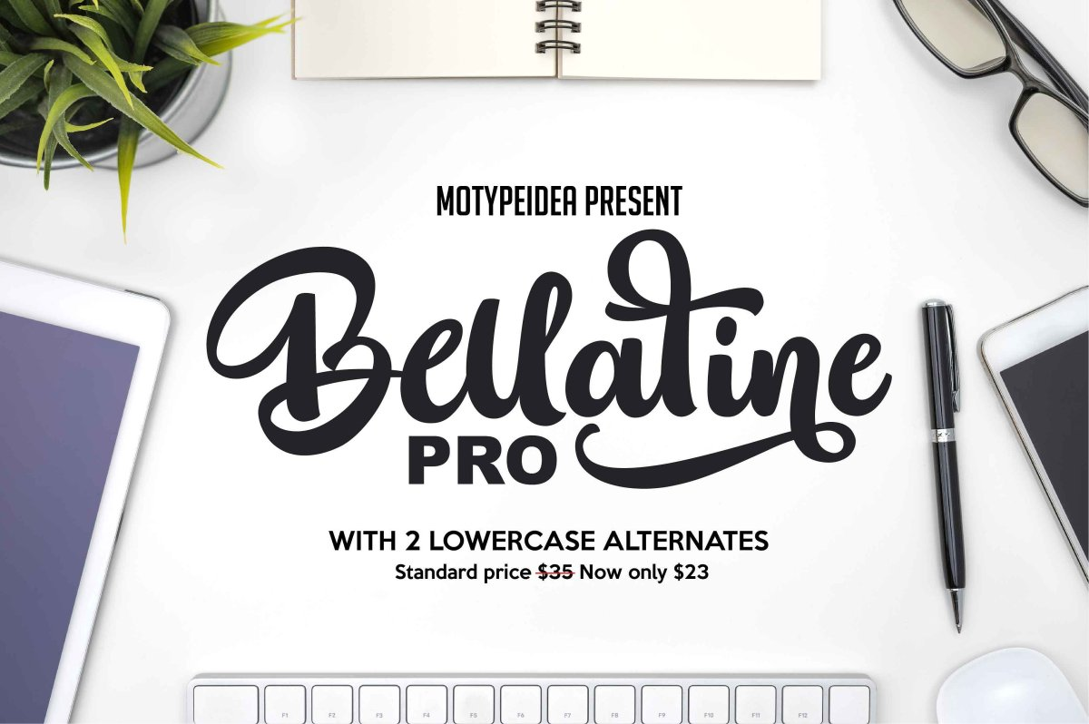 The Bellatine Pro Script Font by motypeidea