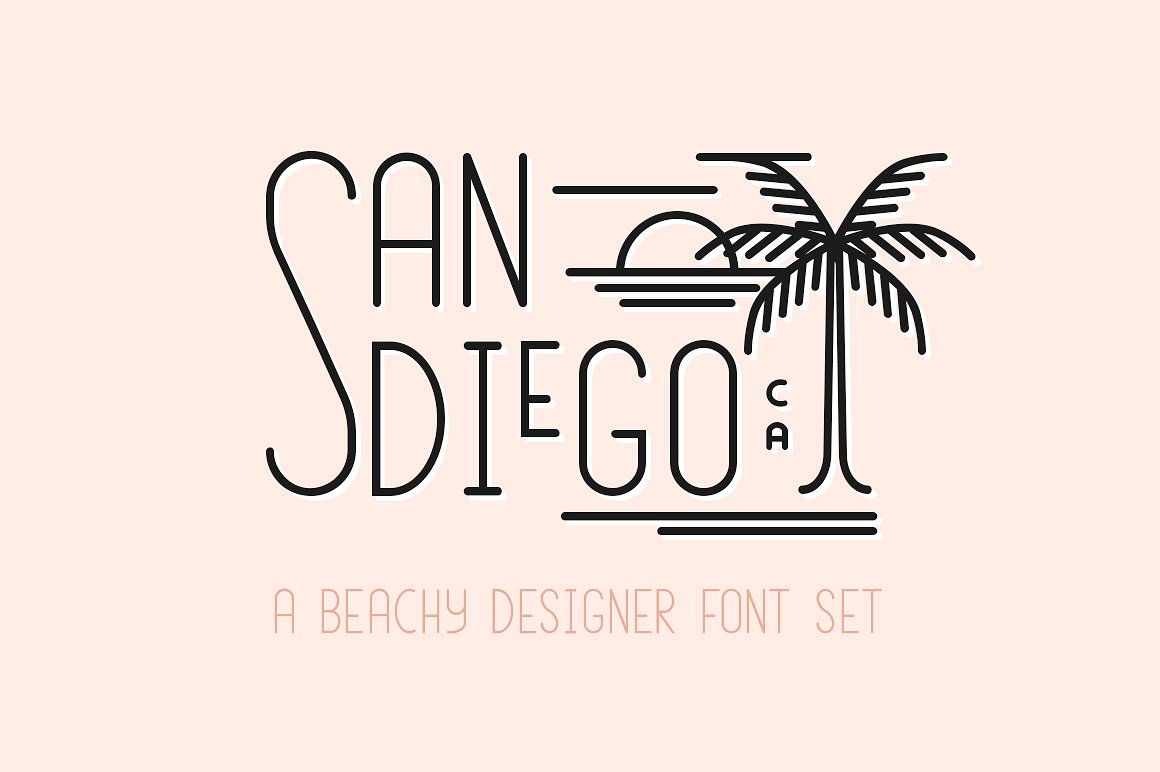 The San Diego Deco Beach Font by Jen Wagner Co