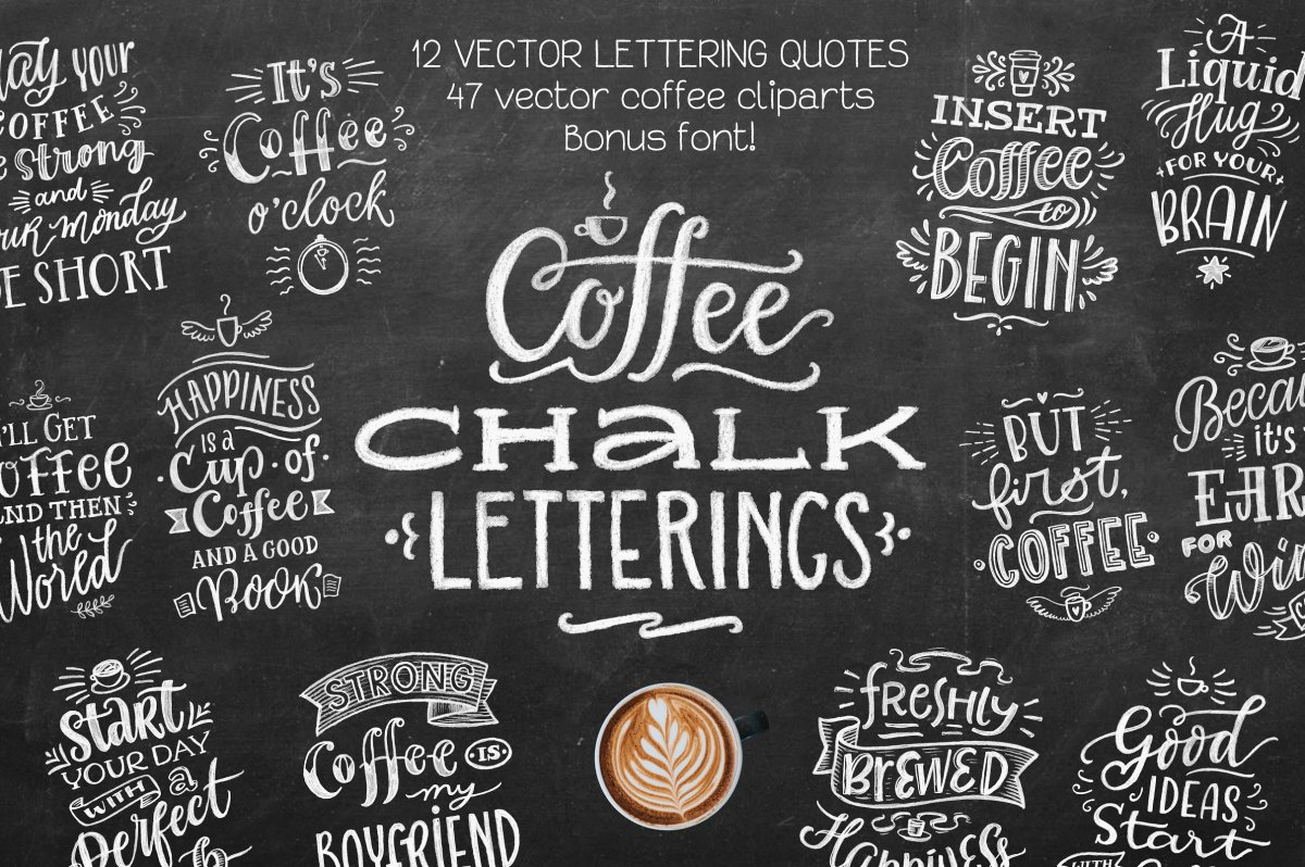 Chalk Board Lettering Templates for Coffe Shops by Zira Zulu