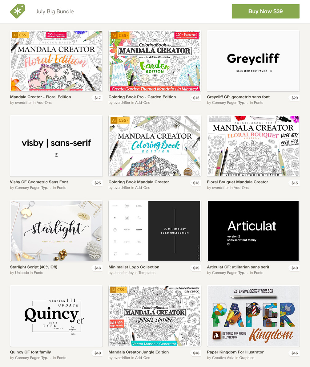 Ending Soon! The Creative Market July Bundle. $1560 worth of design products for only $39