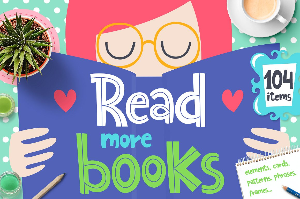 The Love to Read Books Clip Art Collection by Qilli