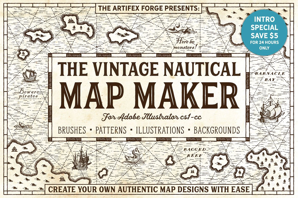 The Vintage Nautical Map Maker Pack by The Artifex Forge