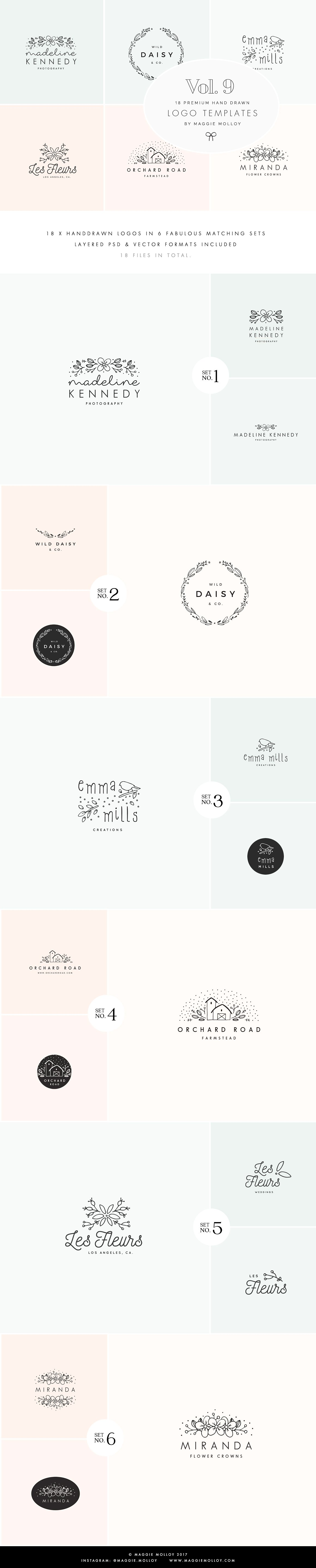 Beautiful Feminine Wedding Logos by Maggie Molloy