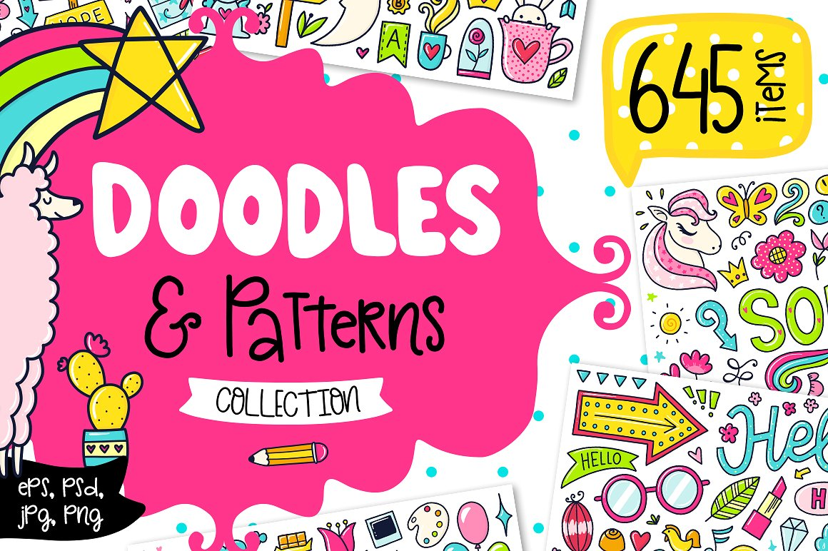 Childish and Cute Doodle Graphics by Qilli