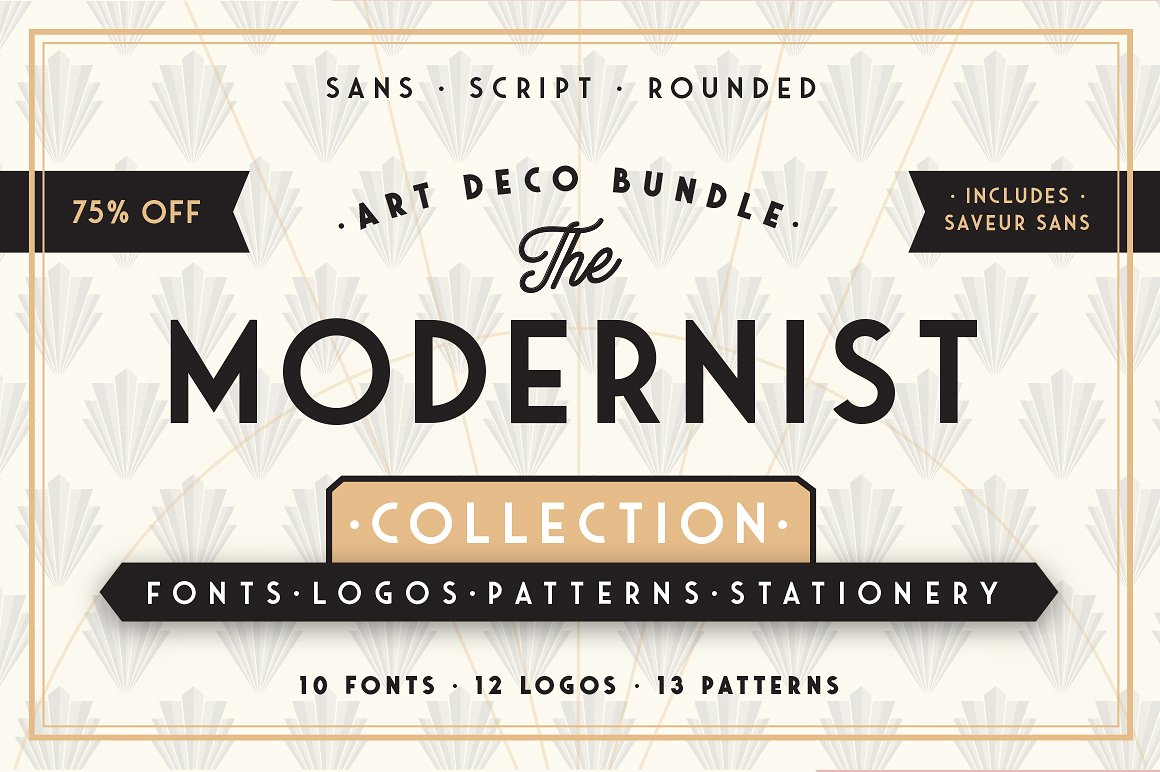 The Modernist Fonts, Logos and Patterns and Collection by Arkitype
