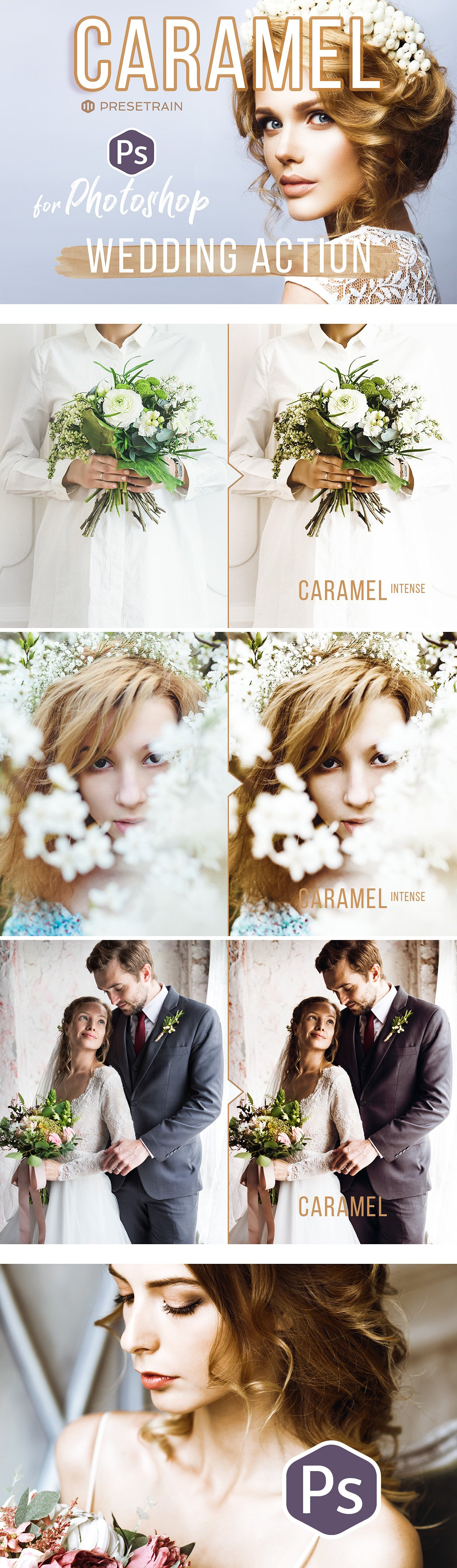 Sepia Wedding Photoshop Actions by Presetrain Co.