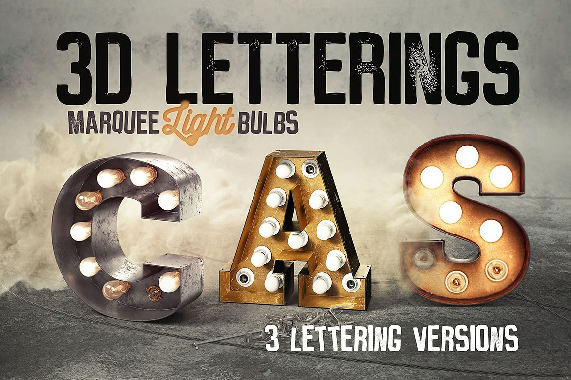Vintage 3d Bulb Marquee Lettering Effects By Tvartworks