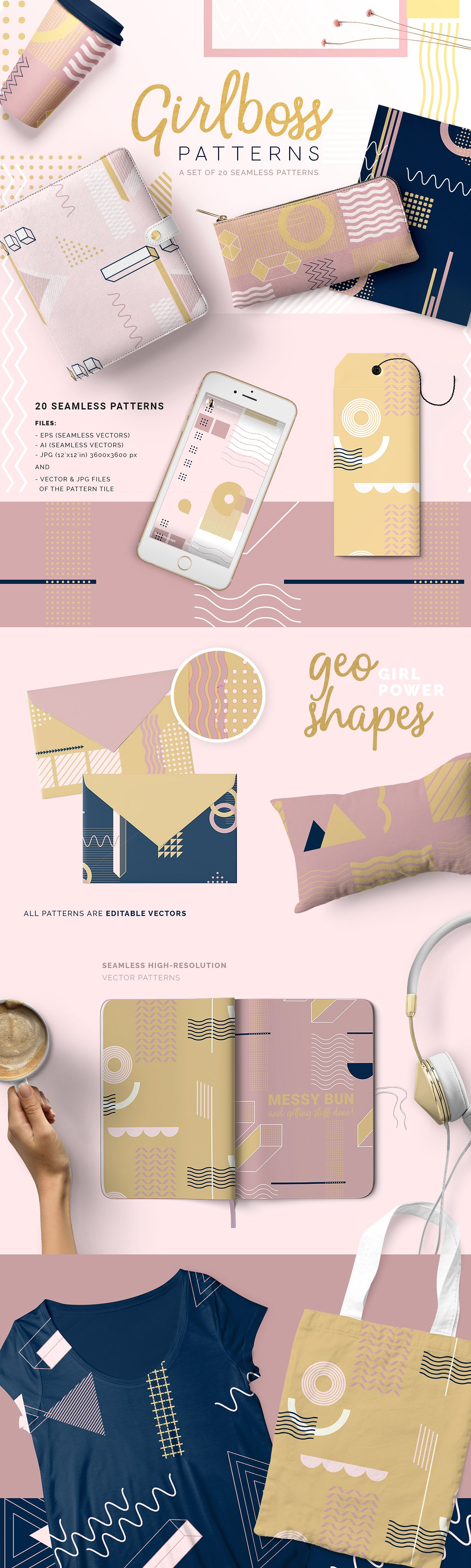 Girlboss Graphic Patterns by Youandigraphics