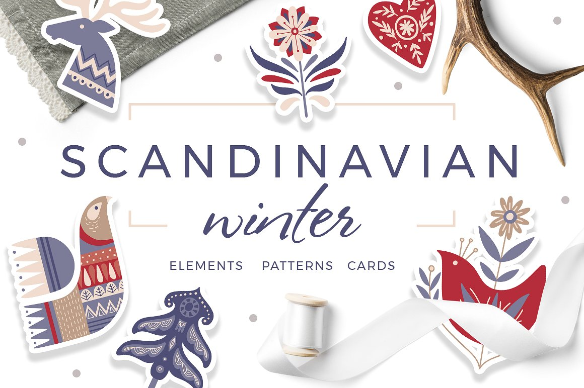 Festive Scandinavian Winter Holiday Graphics by beauty drops