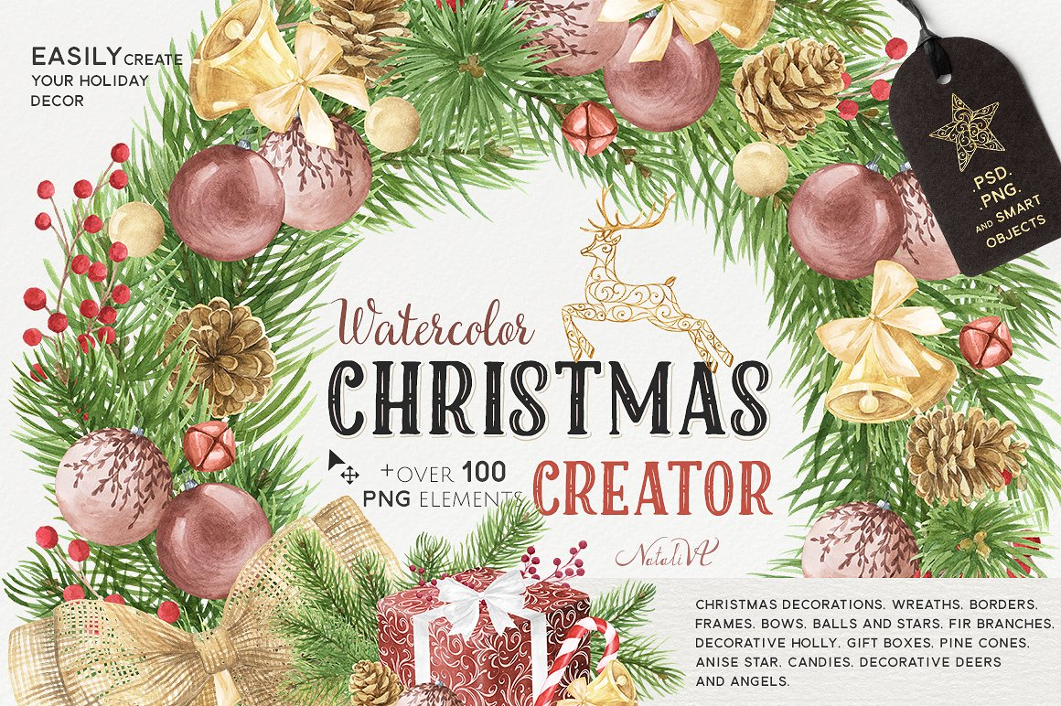 The Christmas Watercolor Creator Pack by NataliVA