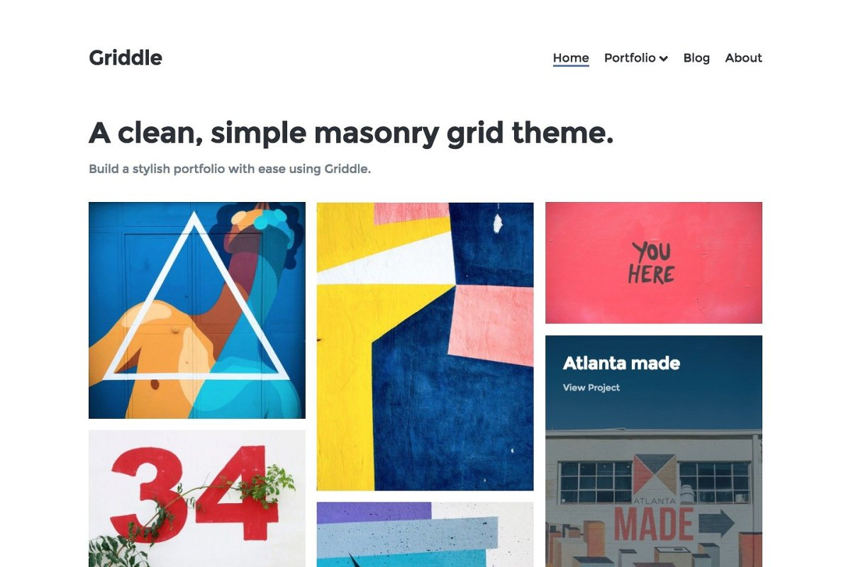 A great, clean and simple masonry grid theme by Precrafted
